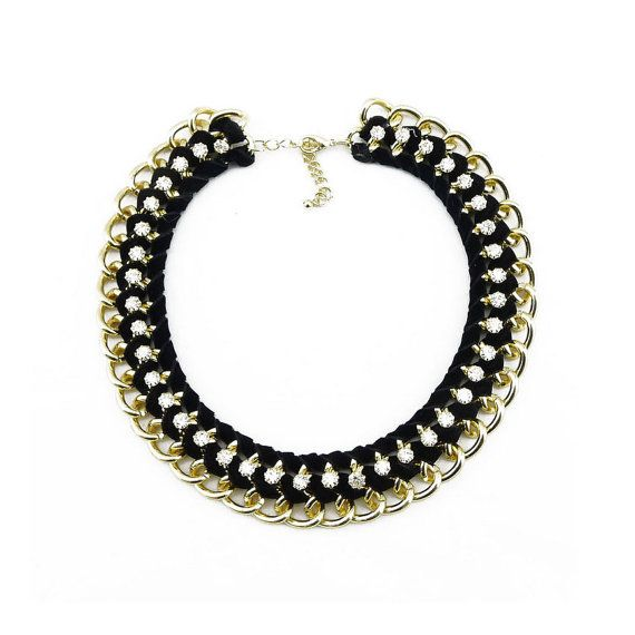 Black choker necklace collar necklace bib necklace gold by eBijoux, $15.99