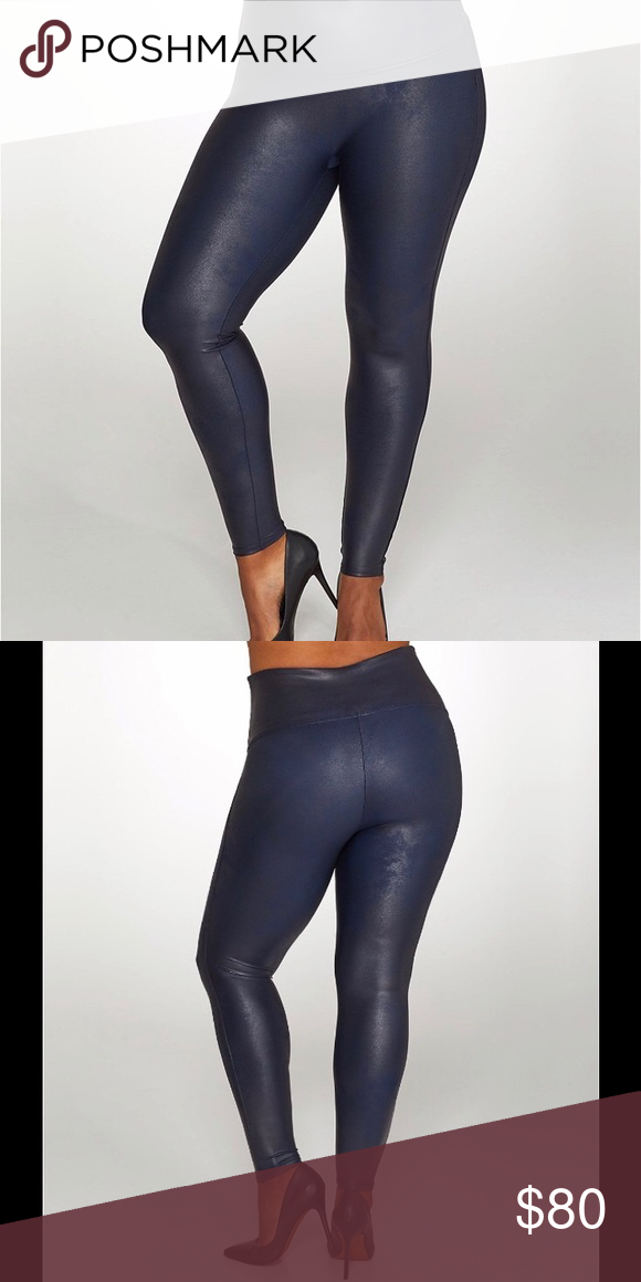01ecb43c12d NWT SPANX® Faux Leather Leggings (Plus Size) Navy Ready to wow Slimming faux