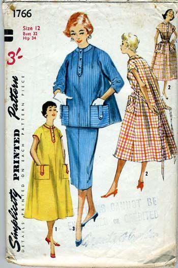 Vintage 1950s maternity dressmaking pattern Simplicity 1766 ...