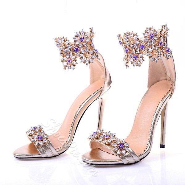 Shoespie Luxious Rhinestone Flower Dress Sandals