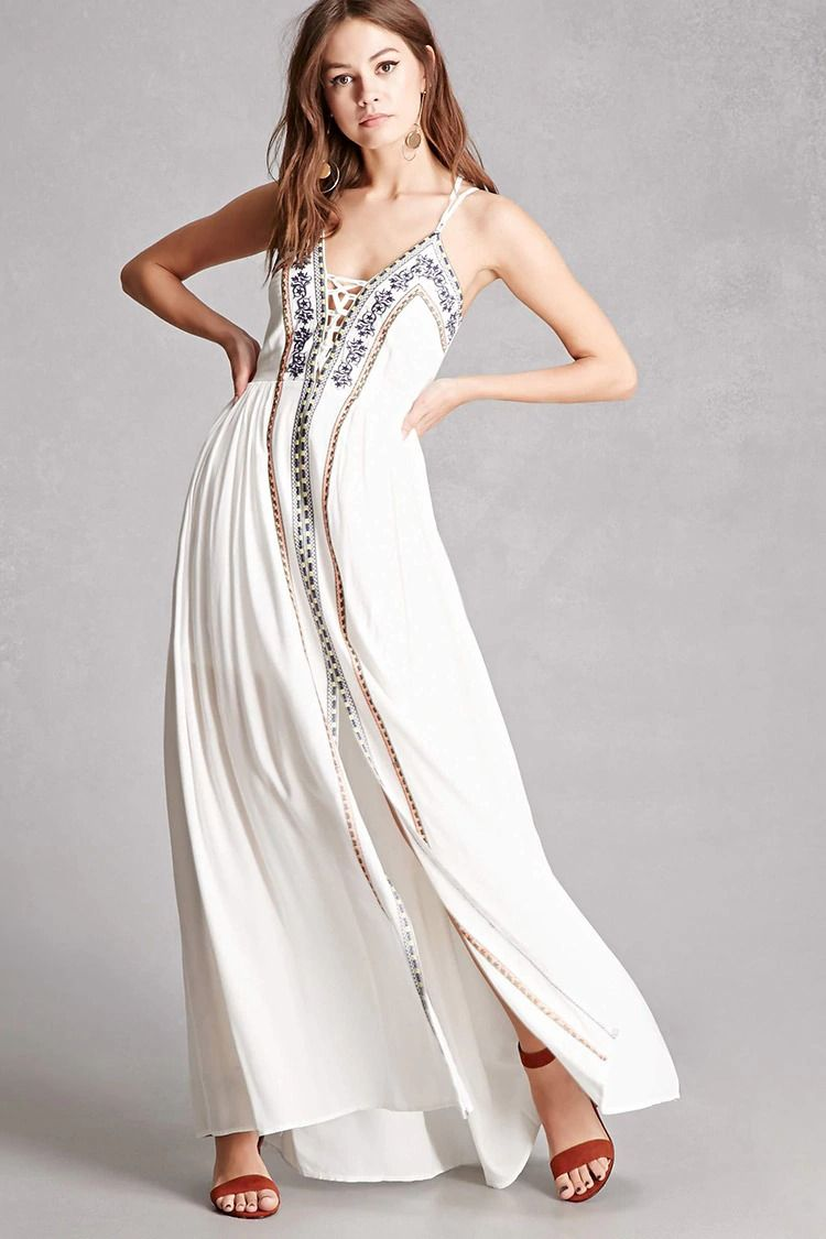 A woven maxi dress by soieblu featuring front contrasting geo and