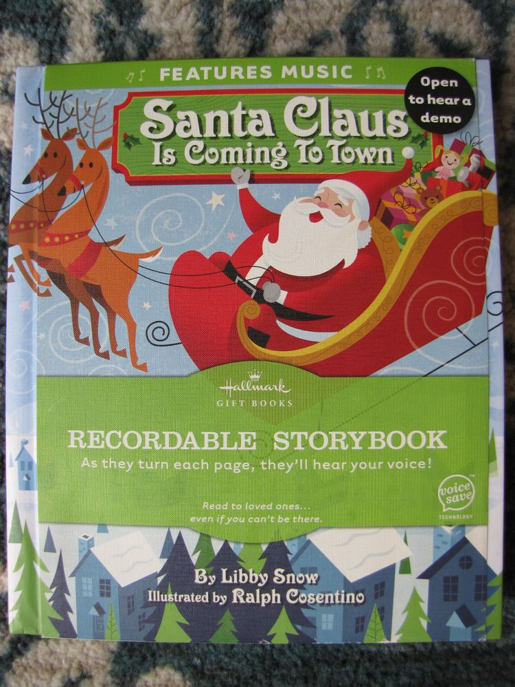 Santa Claus is Coming to Town Hallmark Recordable Book Like New HC Gift Books