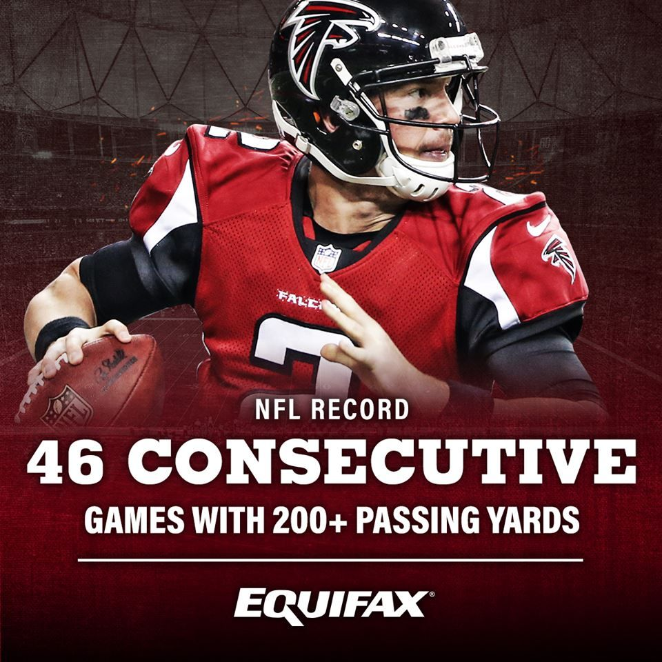 Atlanta Falcons Matt Ryan Recorded 200 Plus Passing Yards For The 46th Consecutive Regu Atlanta Falcons Logo Atlanta Falcons Pictures Atlanta Falcons Matt Ryan