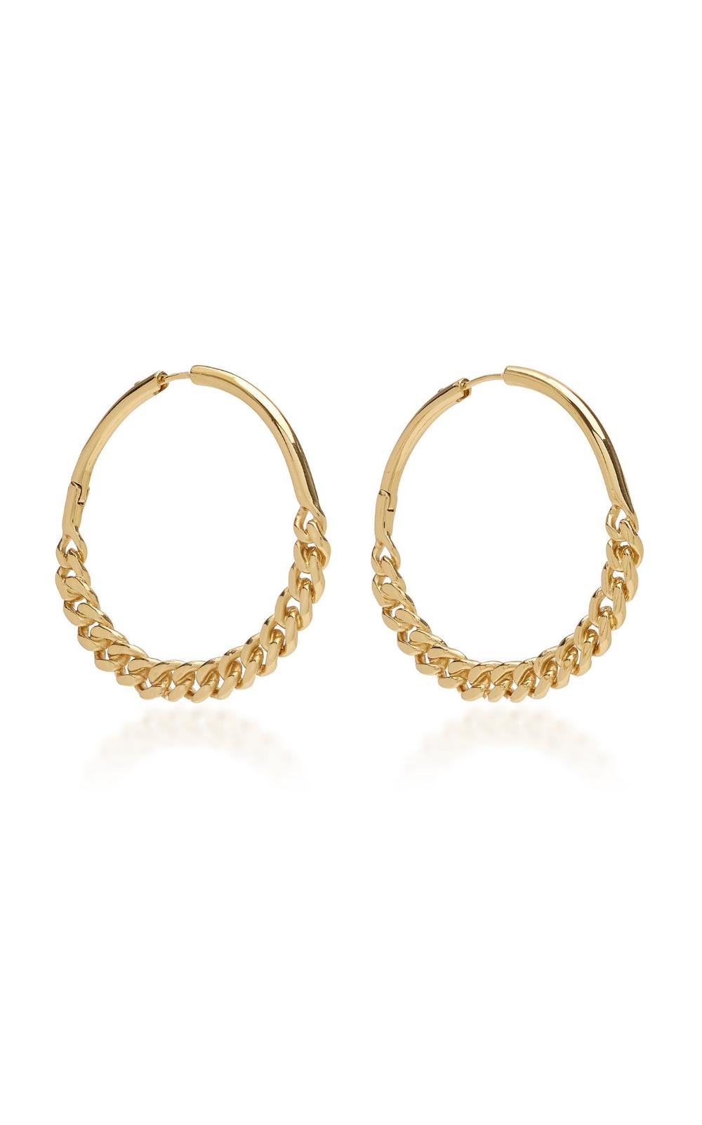 Cristy Chain Detailed 12k Gold Plated Hoop Earrings By Demarson Moda Operandi In 2020 Hoop Earring Sets Fashion Jewelry Earrings Hoop Earrings