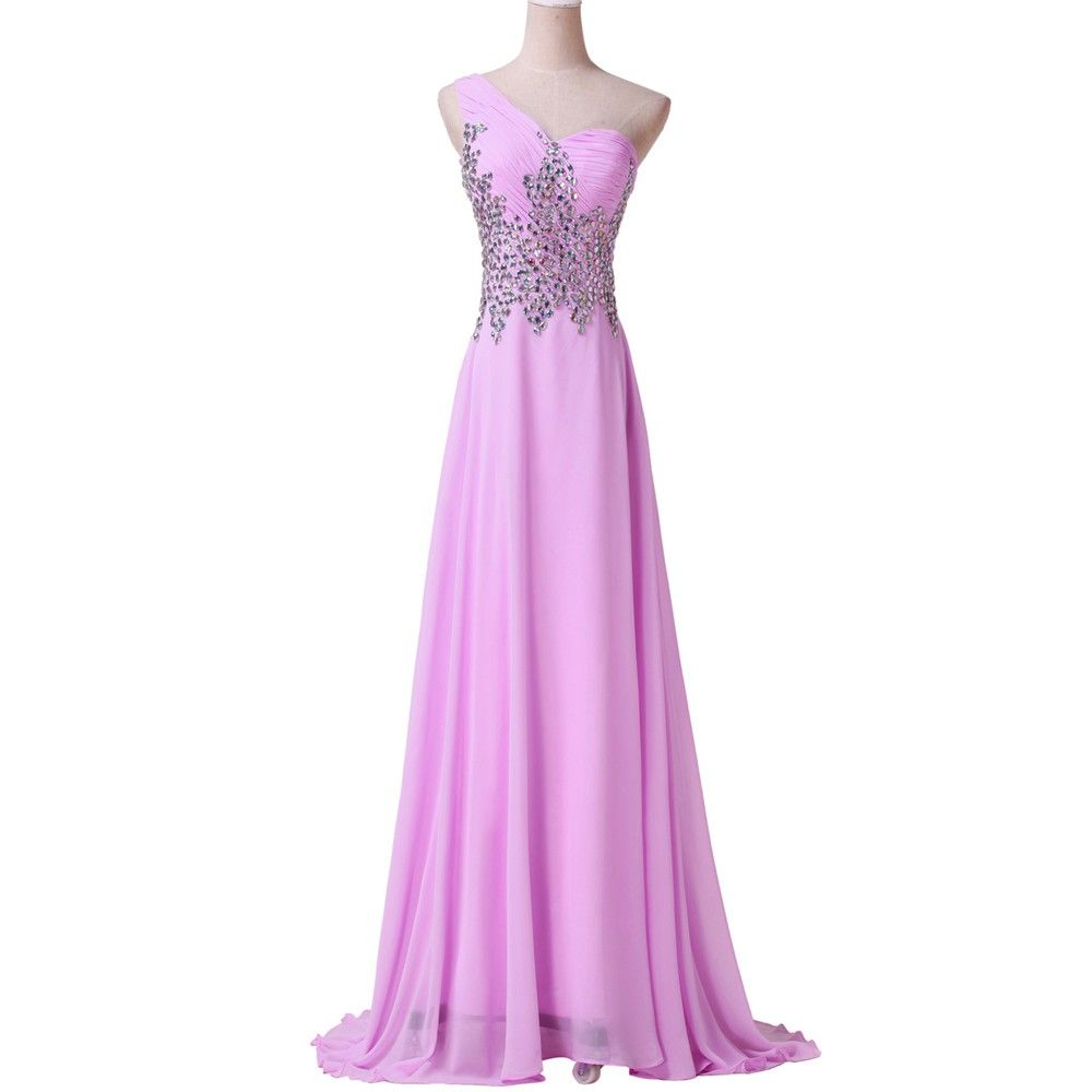 Length One Shoulder Beads Bandage Chiffon Evening Dress
