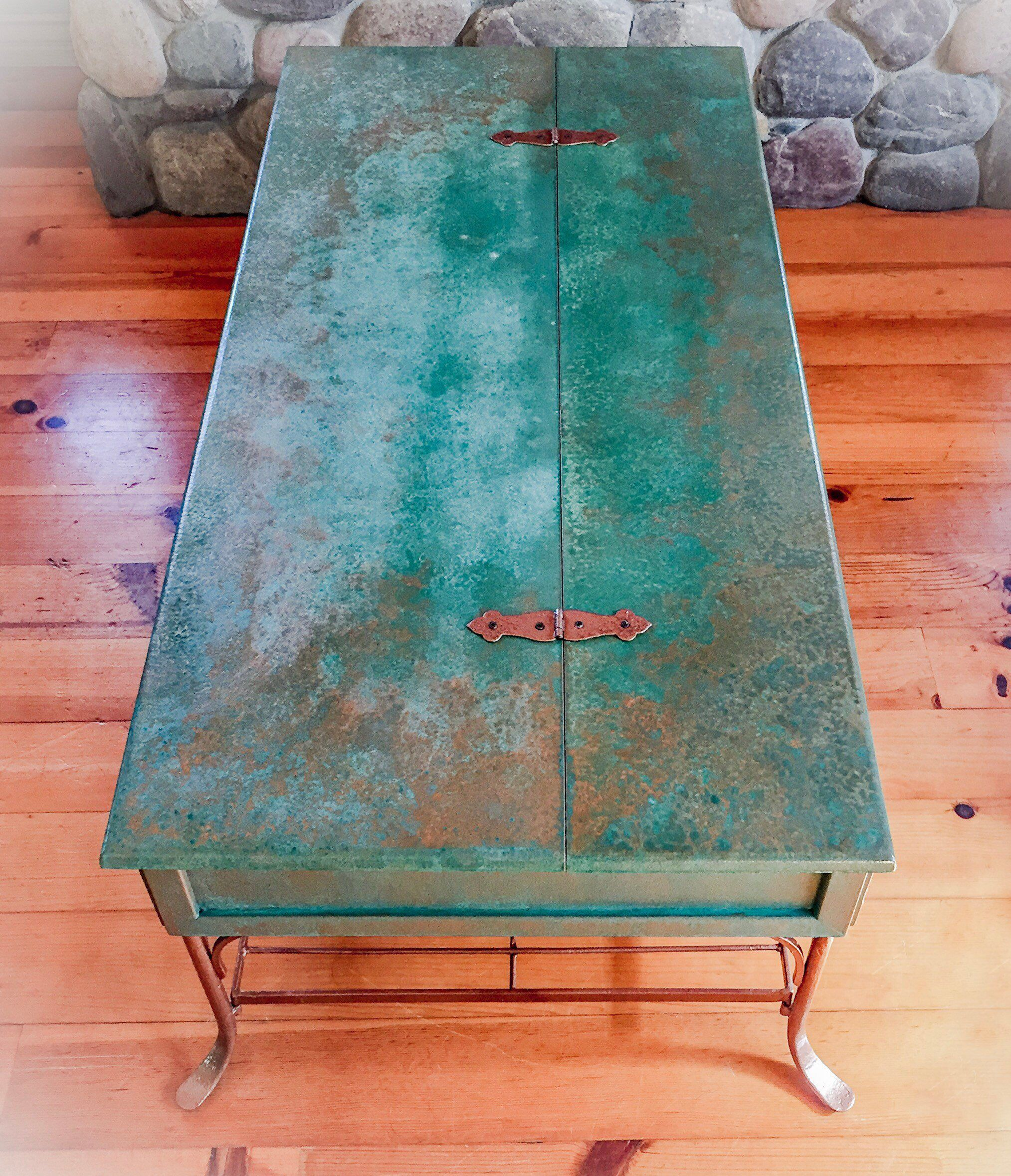 Patina Rusted Copper Coffee Table Hinged Tabletop