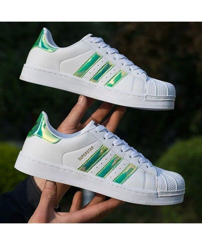 Adidas Superstar Iridescent Womens White Green Trainers  b438224092