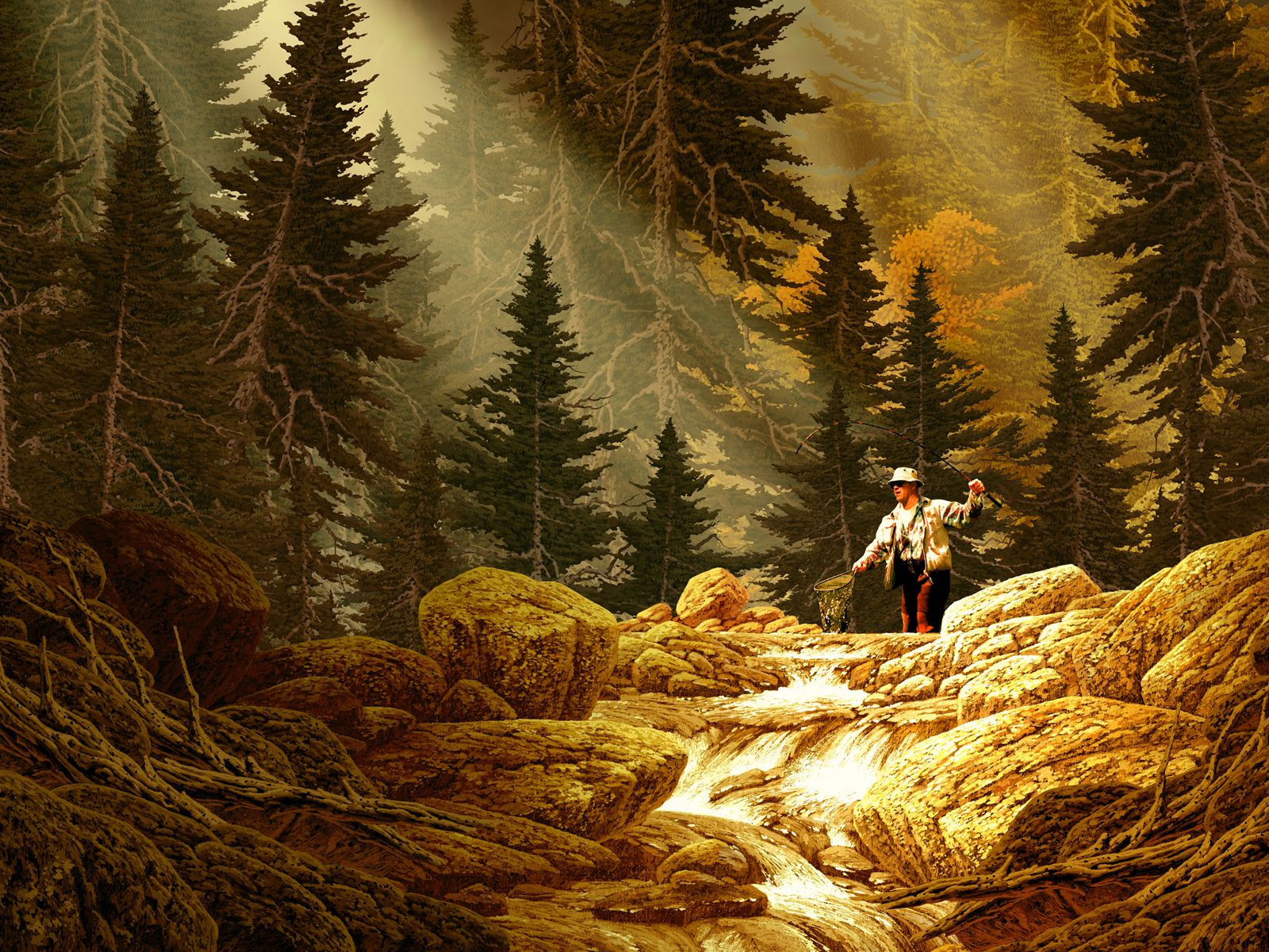 Vintage Painting Fly Fishing Art Fish Wallpaper Trout Art