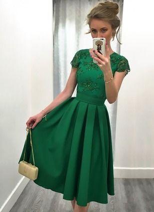 Elegant kurze Ärmel Solide Knielang Polyester Kleider | Kleider ...