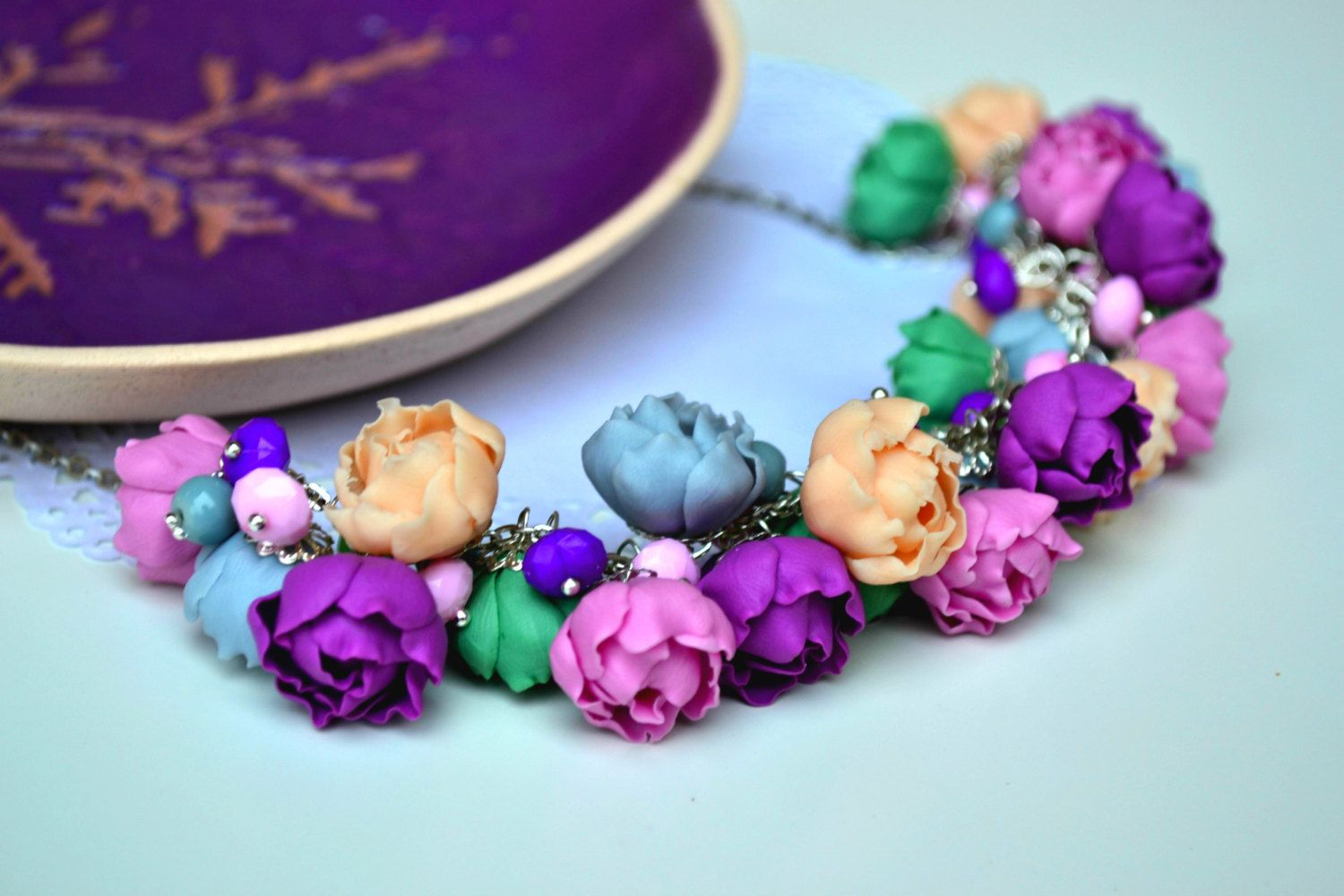 FREE EARRINGS! Flower necklace. Peonies necklace. Flower jewelry. Purple gray pink green necklace. (42.00 USD) by IvannaFlorist