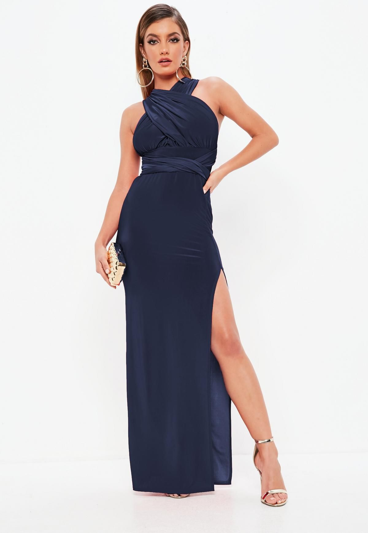 f598de0888d5 Navy Slinky Multiway Maxi Dress