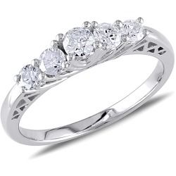 Show her your love is genuine with this exquisite Round-cut Five-stone Diamond Engagement Ring. This classic white gold engagement ring sparkles with a round-cut, prong-set center diamond (G-H, I2-I3) and two round-cut, prong-set diamonds at each side. A slender band gives this beautiful ring a refined and elegant look.