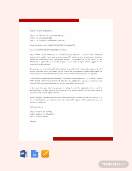 Free Letter Template of Recommendation for Internship in ...