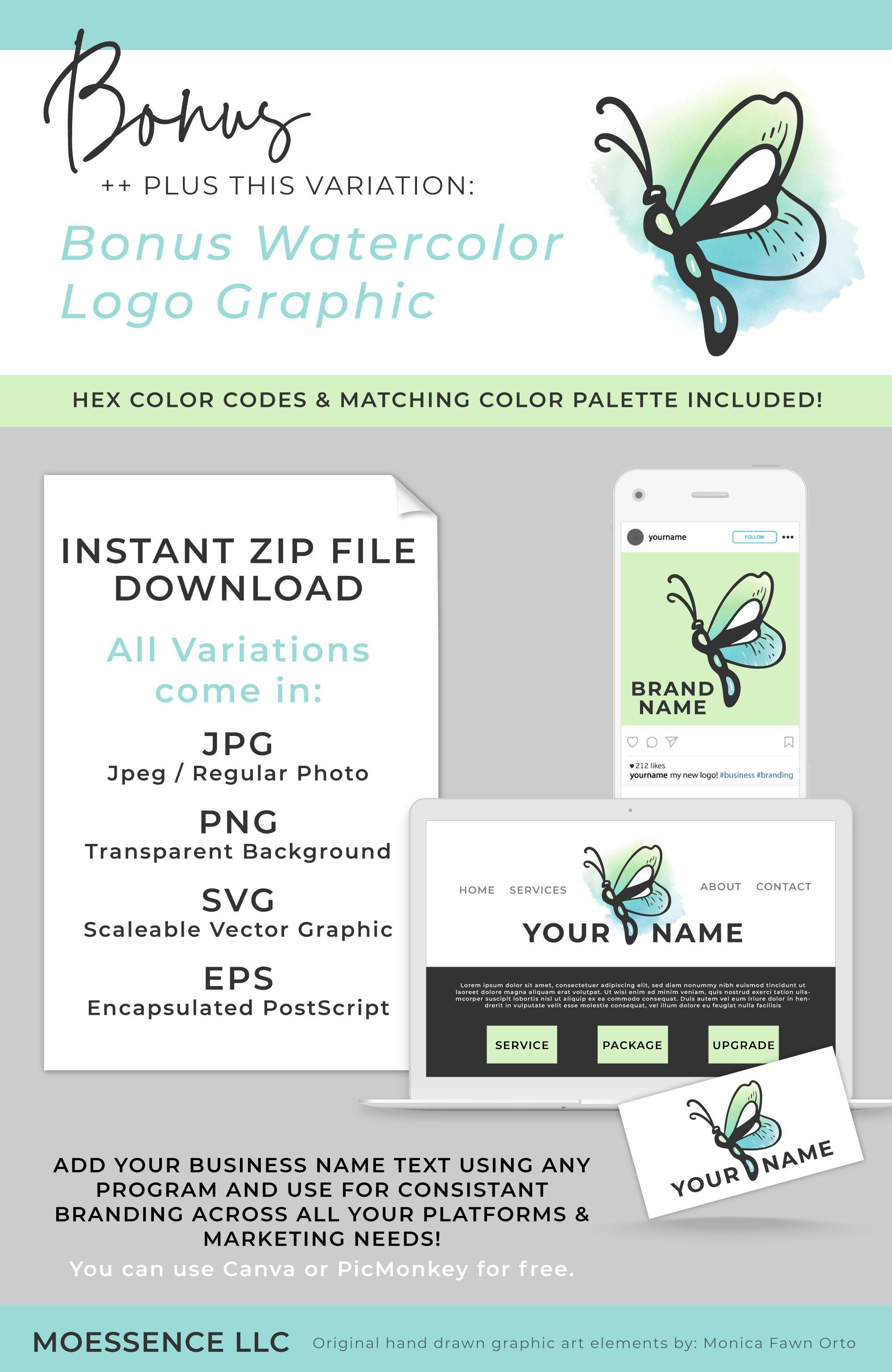 Feminine Pop Art Butterfly Logo Seafoam Green And Teal