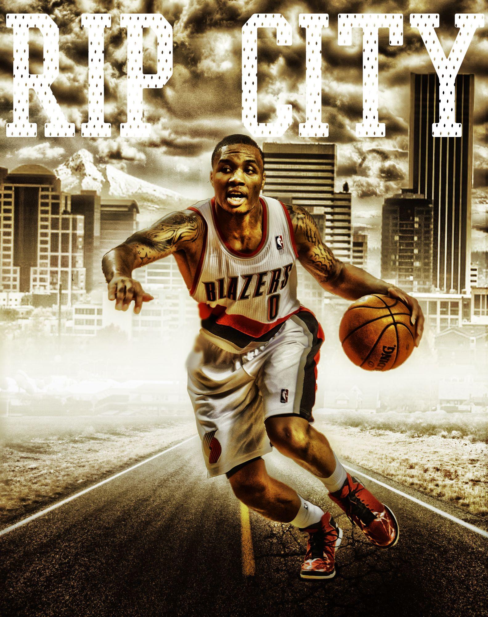 Damian Lillard Of The Portland Trailblazers. Graphic Design Portland Oregon Blazers NBA Rip ...
