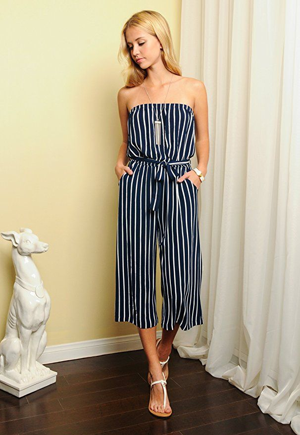 20ce81c2d89 Amazon.com  Trend Director Womens Navy Striped Waist Tie Sleeveless Romper  Jumpsuit  Clothing