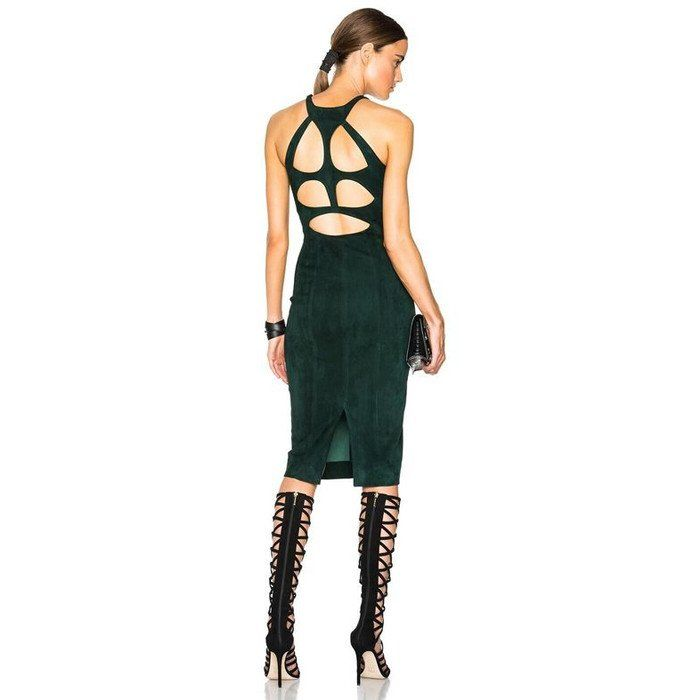 APRIL Suede Cutout Back Dress