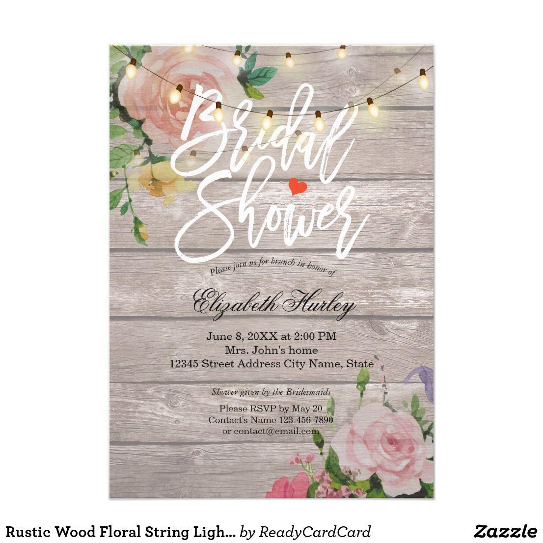 Rustic Wood Floral String Lights Bridal Shower Card Bridal Shower - Bridal shower card template