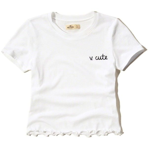 Hollister Cropped Graphic Baby Tee (64 ILS) ❤ liked on Polyvore featuring  tops,