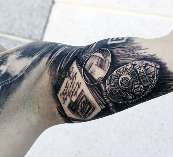 6f8515e713b38 50 Police Tattoos For Men - Law Enforcement Officer Design Ideas ...
