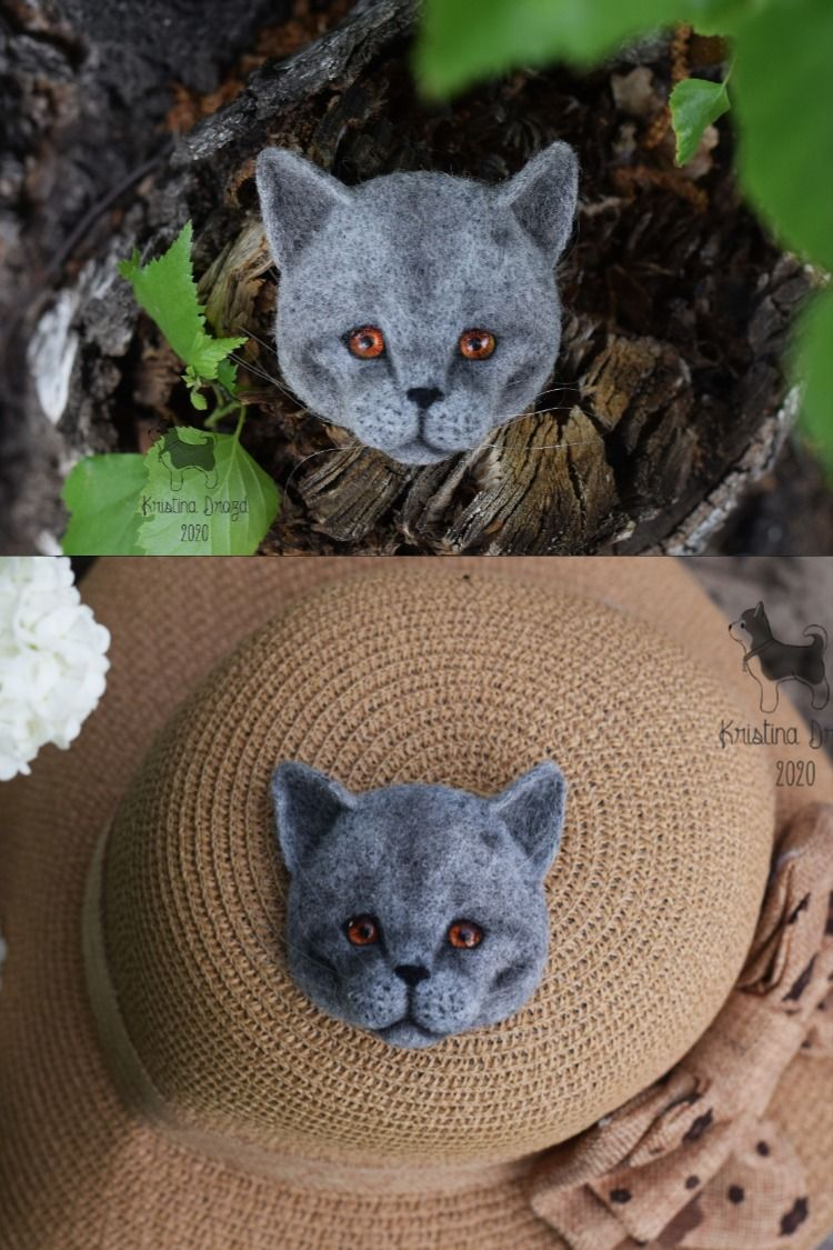 Needle felted Wool brooch British blue shorthair cat face