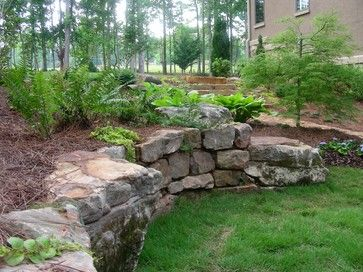 Natural Retaining Wall Ideas Outdoor Products Fencing And Retainer Walls Retai Backyard Landscaping Landscaping With Rocks Backyard Retaining Walls
