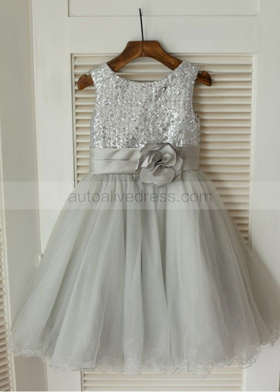 d504256e9ba Silver Sequin Gray Tulle Flower Girl Dress