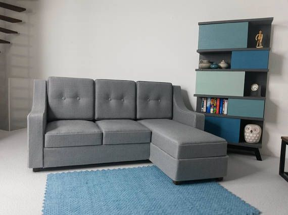 Modern corner chaise sofa for your dolls house in 1 12 scale