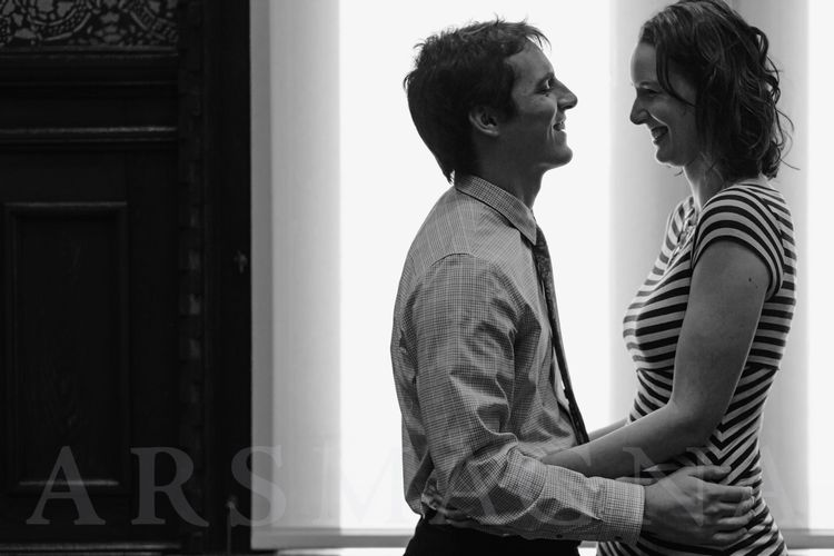 Bride in stripes, Groom in shirtsleeves Elopement at Cambridge City Hall Wedding  — ARS MAGNA