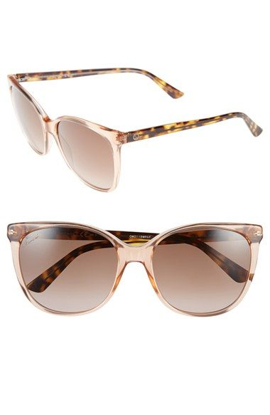 9ccb3bcadc51 Women's Gucci 56mm Cat Eye Sunglasses - Transparent Rust | Shades ...
