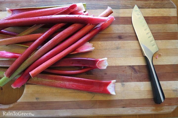 Rhubarb ready for the knife. I'm making Rhuberry Jam. | Rain To Green