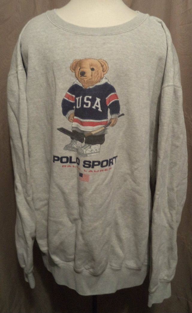 3bee785b60164 Polo Ralph Lauren Teddy Bear Hockey Polo Sport Sweatshirt Vintage L USA  Gray - Sundays Vintage Boutique