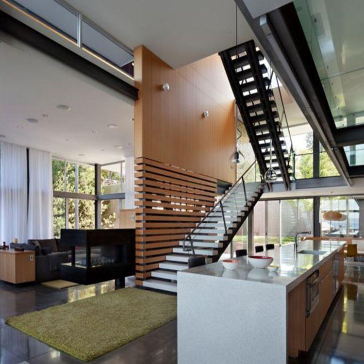 Moderne Treppengelander Fallschutz Absturzsicherung Treppe Holz