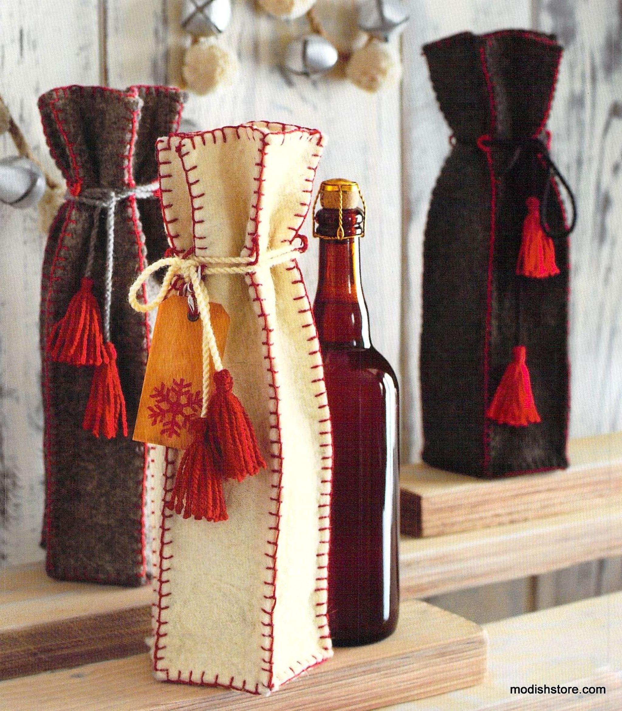 85 00 Roost Wooly Wine Bags Set Of 6 Wine Bag Diy Wine Gifts Wine Gift Bag