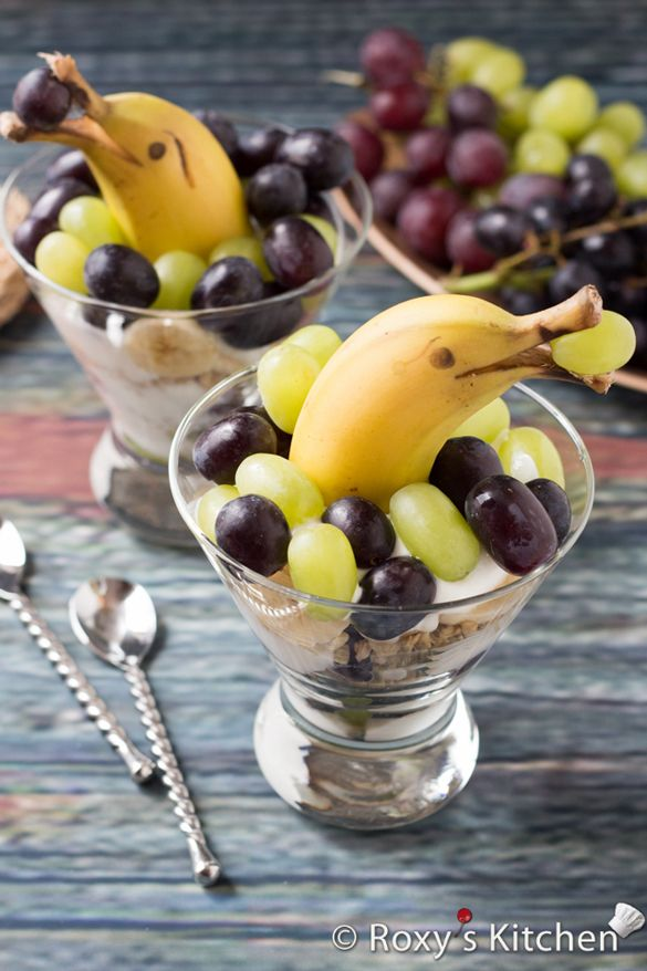Grape and Banana Dolphin Parfait | Znacks | Food, Food ...