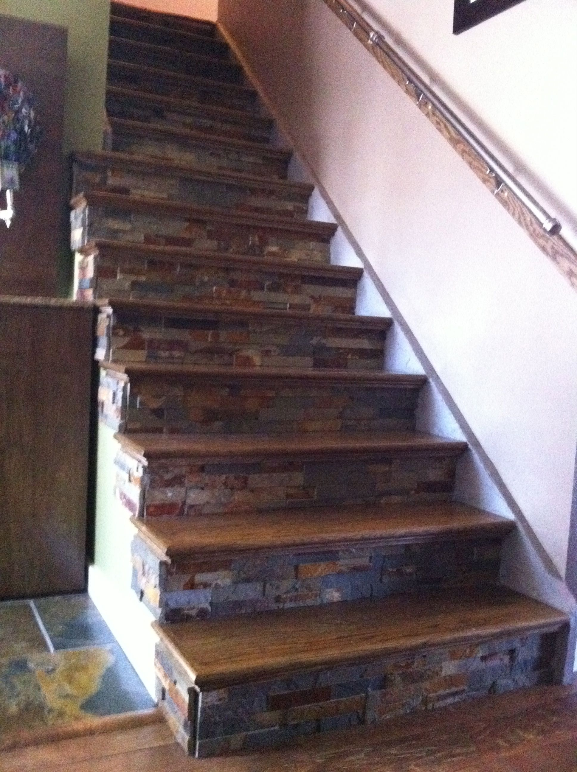 Best Why Have Boring Stairs We Ripped Off The Carpet Added Oak Treads Stained The Color Of The 640 x 480