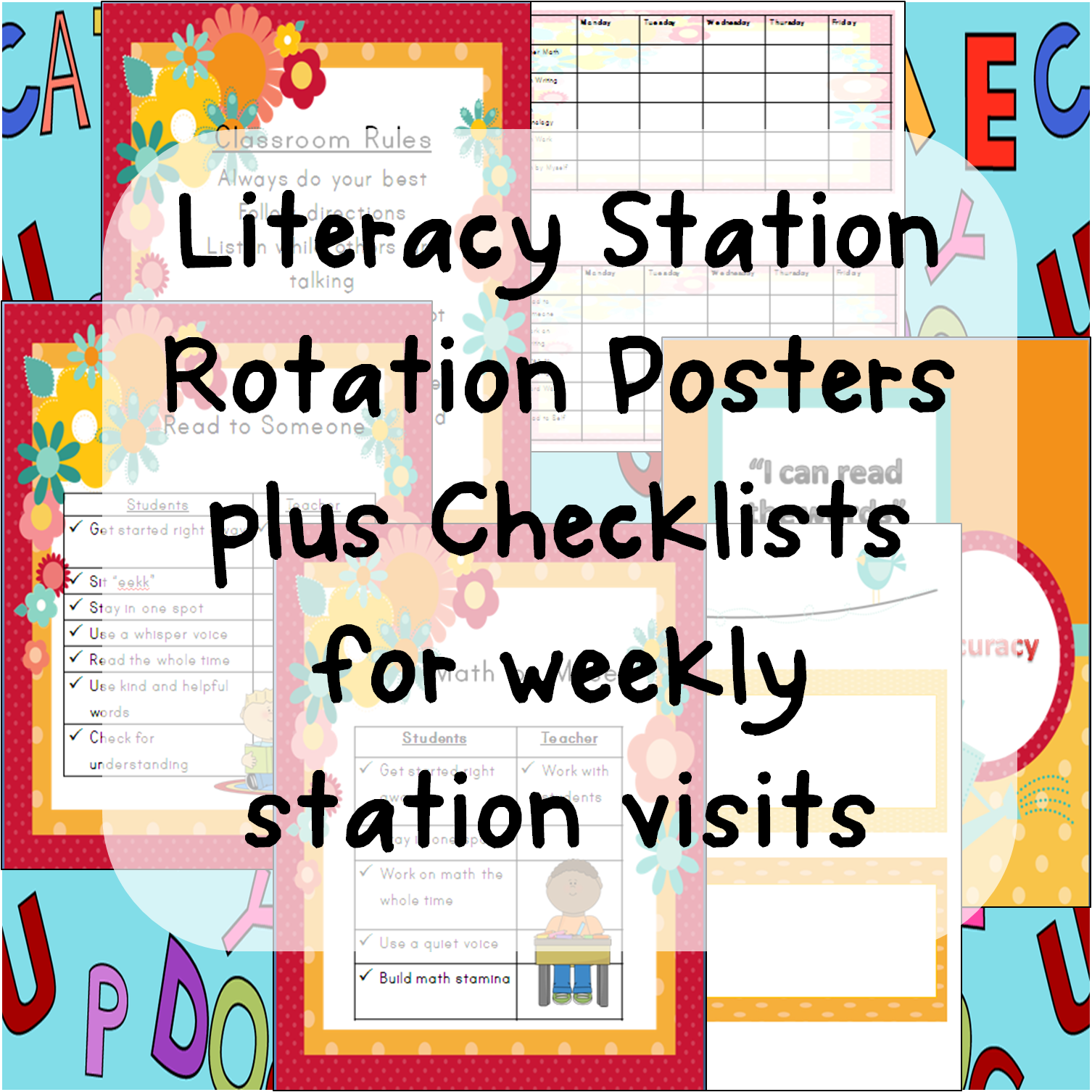 Literacy Station Rotation Posters Plus Checklists For Weekly Station Visits