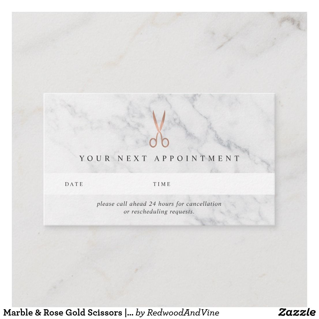 Marble & Rose Gold Scissors Hair Salon Appointment Card