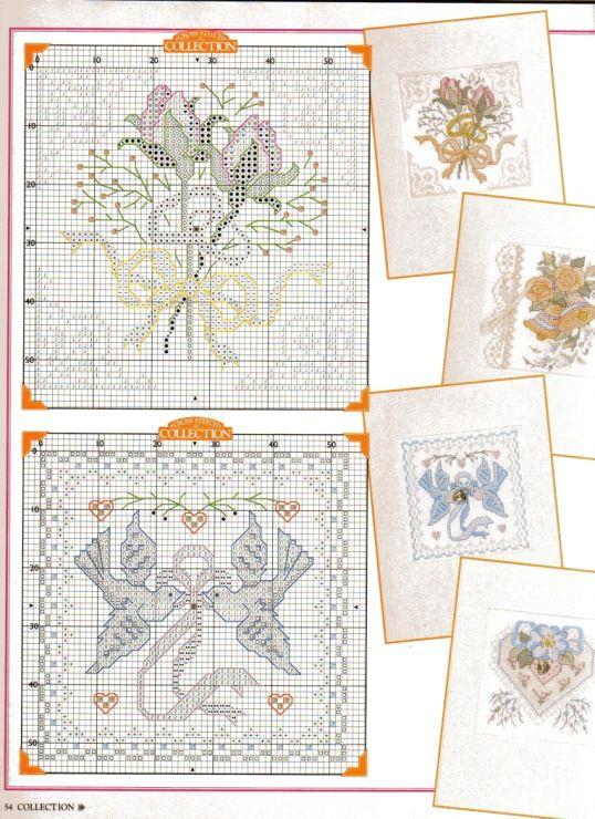 Картинки, схема вышивок крестом для свадебной открытки
