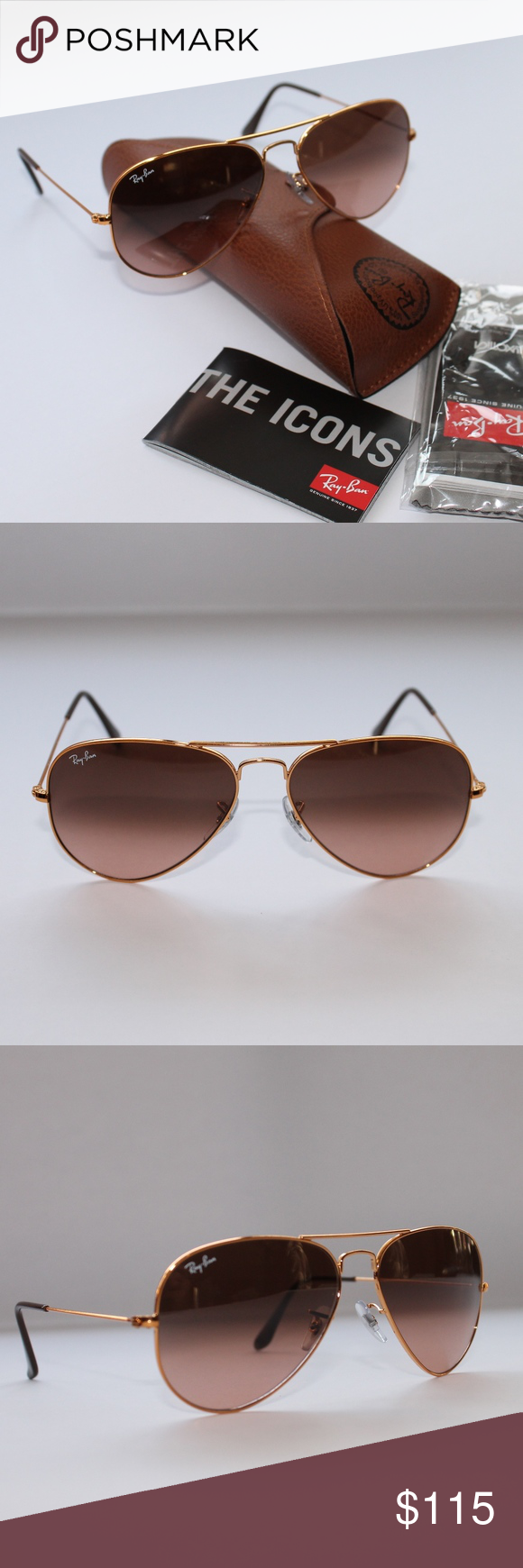 d09c21043a Ray-Ban AVIATOR GRADIENT Bronze-Copper Pink Brown Brand New 100%Authentic  Ray-Ban AVIATOR RB3025 9001A5 58-14 Bronze-Copper Pink Brown Gradient Ray- Ban ...