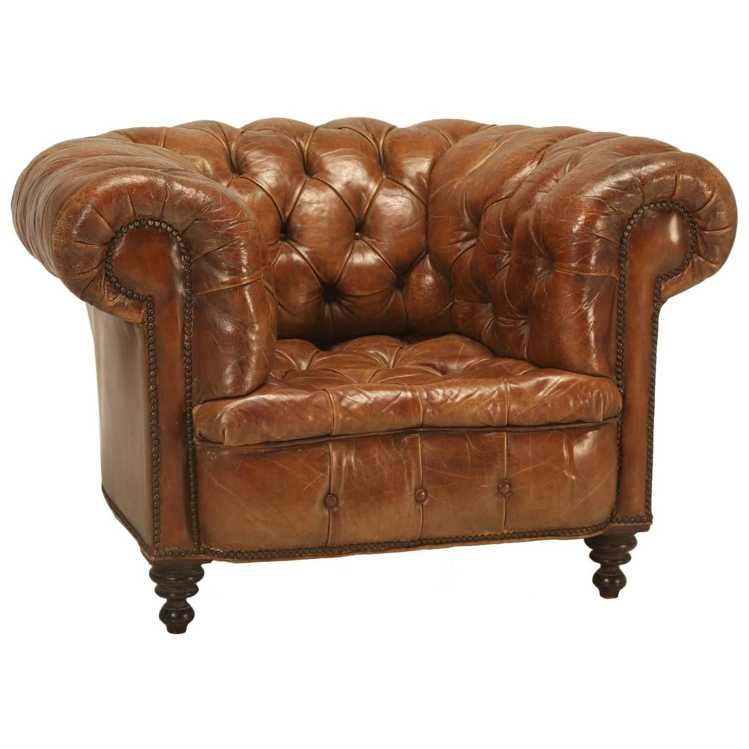 Antique Chesterfield Chair In Original Leather See More Antique And Modern Armchairs At Https Www 1stdi Chesterfield Chair Club Chairs Brown Leather Chairs