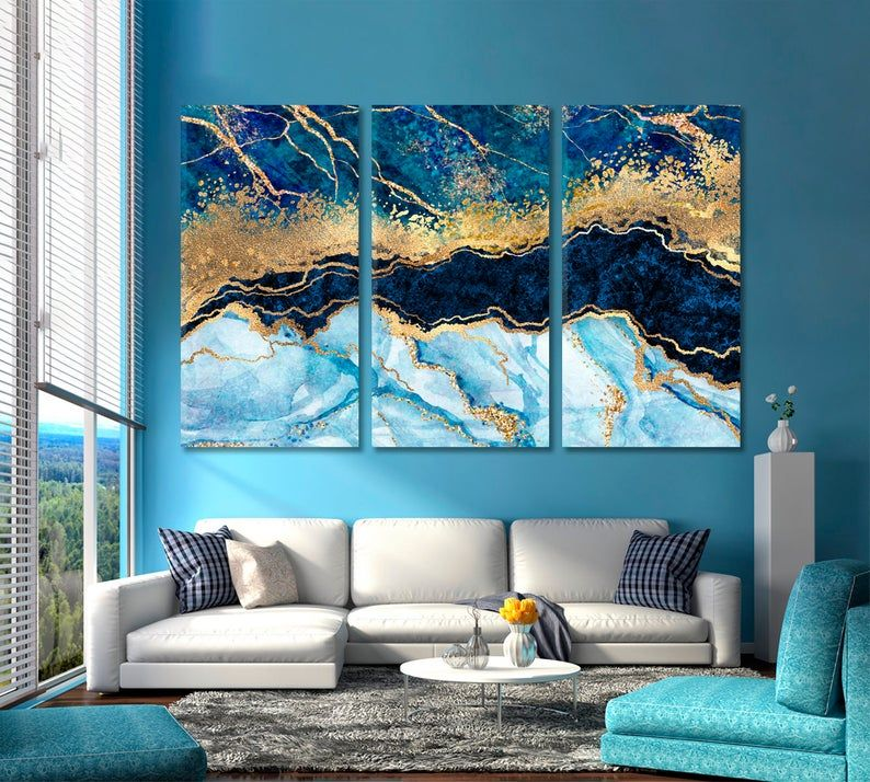 Blue Marble Marble Trendy Style Wall Decoration Abstract Etsy In 2020 Stone Art Canvas Art Prints Wall Decor