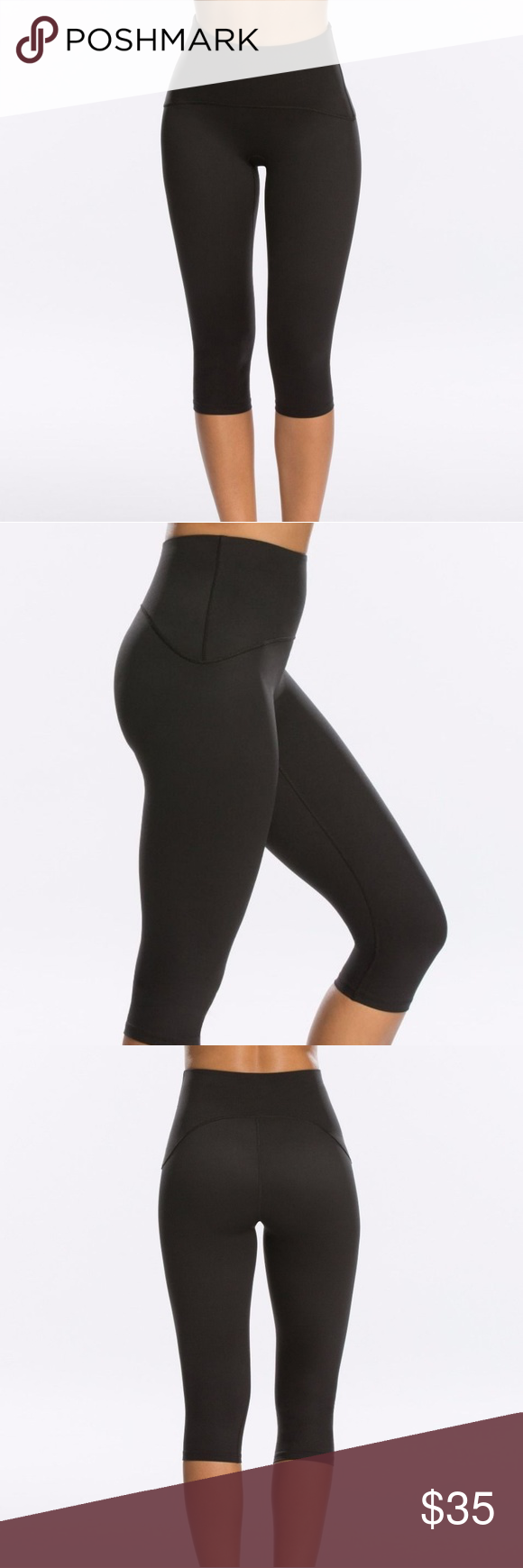 7ab0749f68 SPANX Active Compression Knee Pant Size L Black Active Leggings won't quit.  These sculpting active knee leggings lift your backside and flatter your  bod ...