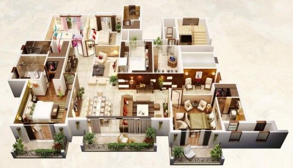 4 Bedroom Apartment/House Plans 9) Large Home Layout