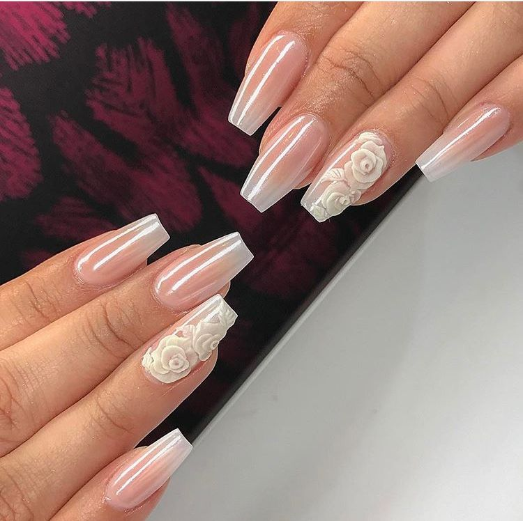 Pearlescent White Rose Nails