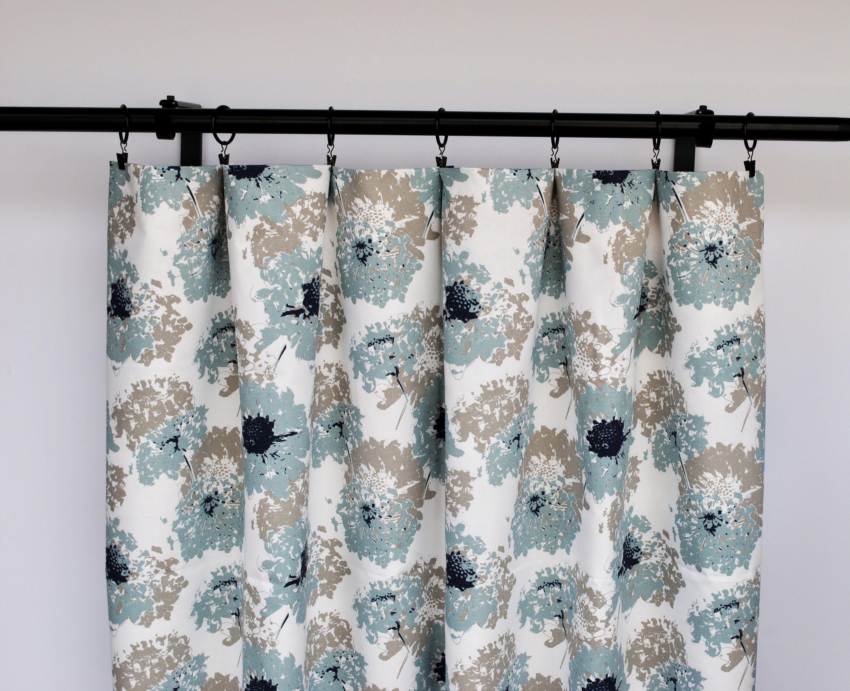 Floral Curtains Striped Light Blue Curtain 2 Curtain Panels