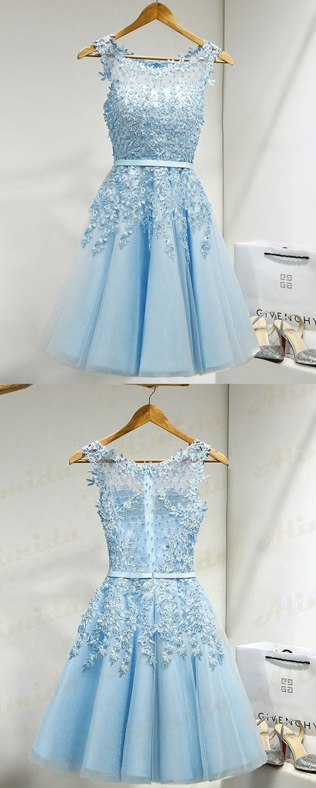 A-Line Scoop Knee-Length Sleeveless Blue Tulle Homecoming Dress with ...