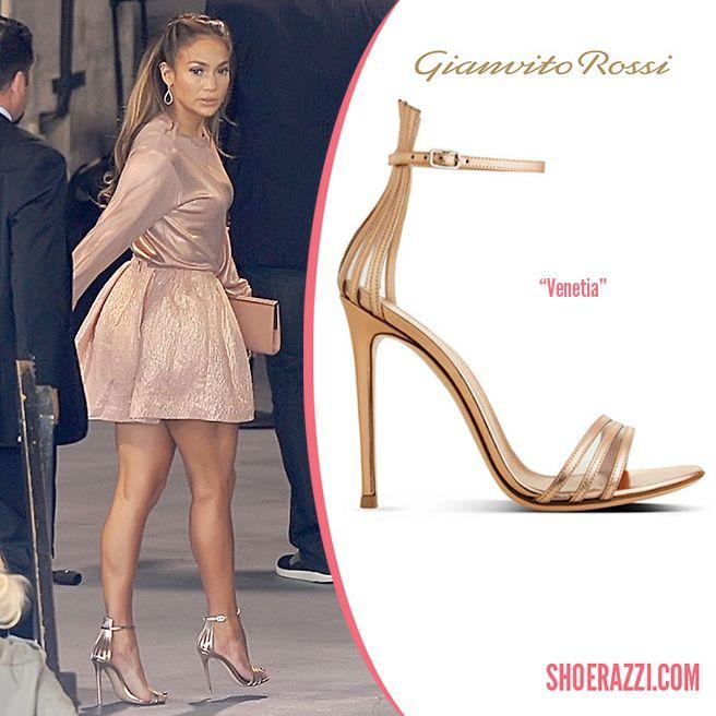 Jennifer Lopez in Gianvito Rossi Spring 2014 Venetia Metallic Leather  Sandals - ShoeRazzi ebb1710d746a