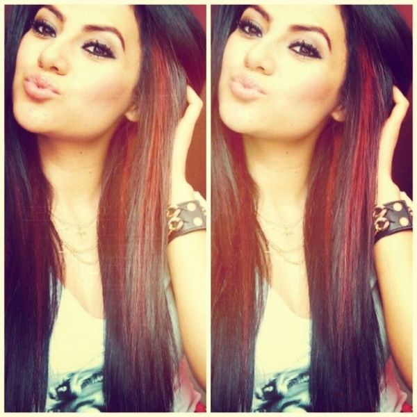 These Peek A Boo Red Highlights Would Look Good On Monica Forghani