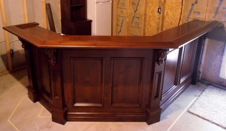 Awesome Custom Knotty Alder Bar Using Osborne Corbels With Acanthus Leaves